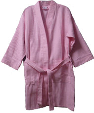 Juniors Size Waffle Weave Robe - Light Pink