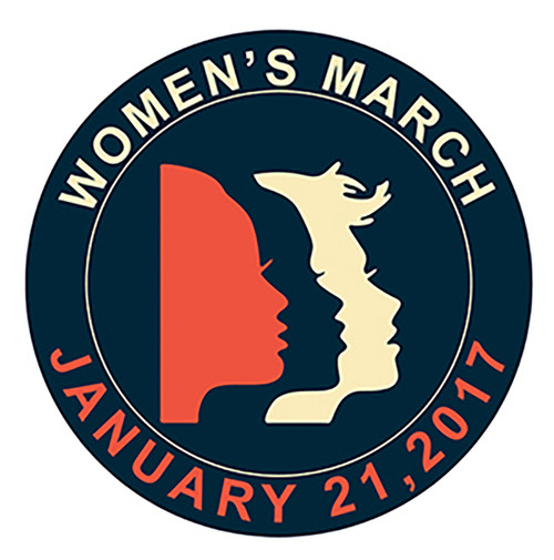 Women's March Patch with faces January 21, 2017 round 2 1/2""