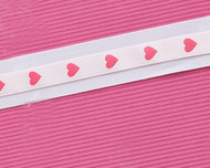 "3/8"" Pink Satin Heart Ribbon"