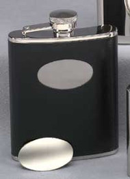 Personalized Black Flask with Engraving Plate