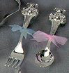 Personalized Silver Plated Teddy Bear Spoon and Fork Set