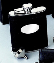 Personalized Stainless Steel Flask with Black Leather and Engraving Plate
