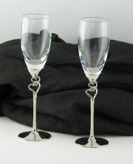 Personalized Pair of Glass Flutes with Double Heart Stems