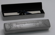 Personalized Wedding Certificate Box with Pewter Finish