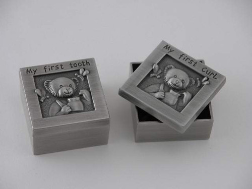 Personalized Set of 2 Baby's 1st Curl and 1st Tooth Teddy Bear Boxes