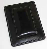 Personalized Black Leather Card Holder and Money Clip