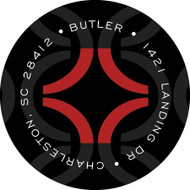 Red and Black Geometric Personalized Return Address Sticker