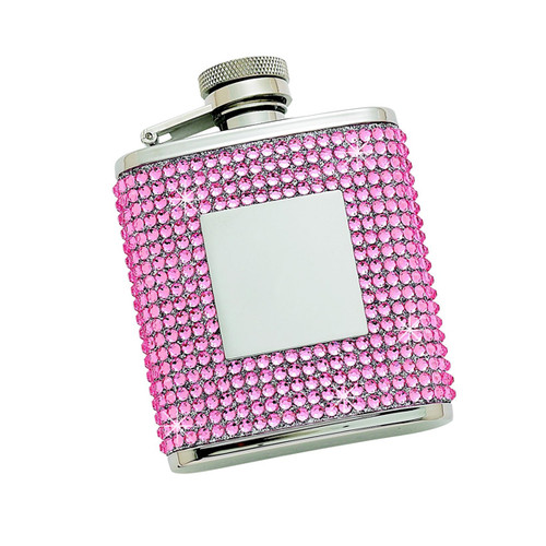 Personalized 2.5 oz Pink Crystal Flask with Engraving Plate