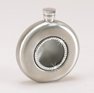 Personalized 4 oz Round Brushed Flask with Glass Front and Crystals