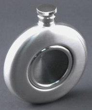 Personalized 4 oz Round Brushed Flask with Glass Front