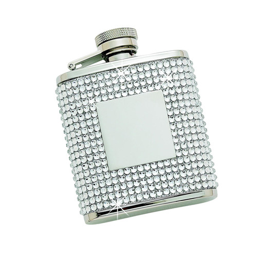 Personalized 2.5 oz White Crystal Flask with Engraving Plate