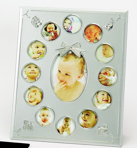 "Personalized Sterling Birth Photo Frame: 12 Mini 2"" Photo Slots and 1 3.5""x5"" Photo Slot"