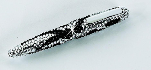 Black and White Waves Crystal Ink Pen