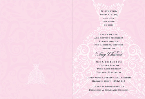 Pink and Charcoal Wedding Dress Invitation