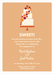 Orange and Cream Floral Cake Invitation