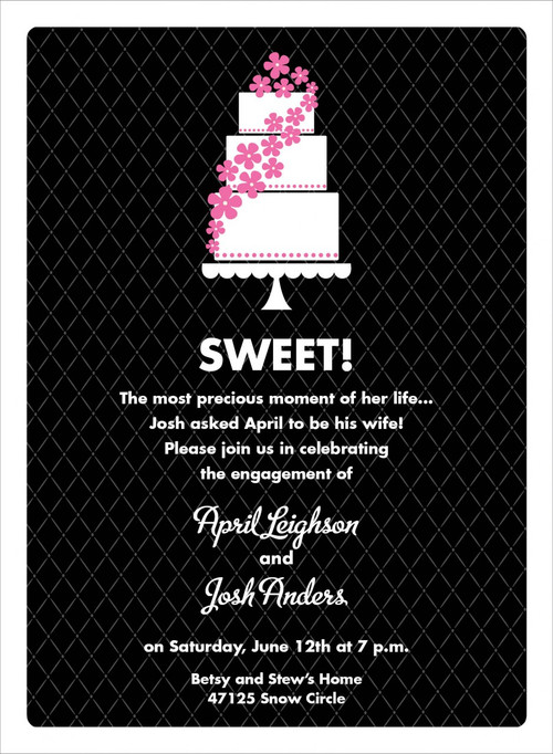Black and Pink Floral Cake Invitation