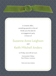 Charcoal Quilted Invitation with Green Ribbon