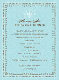 Blue and Charcoal Jacquard Invitation