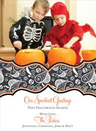 Swirly Skulls Halloween Photo Card