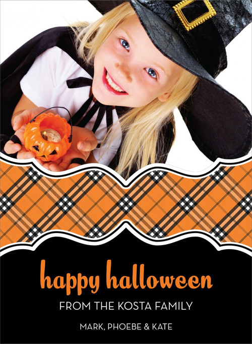 Plaid Halloween Photo Card
