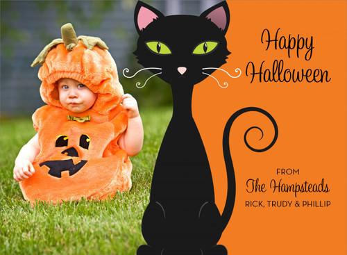 Black Cat Halloween Photo Card