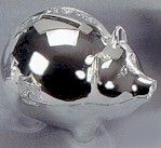 Personalized Nickel Plated Pig Bank