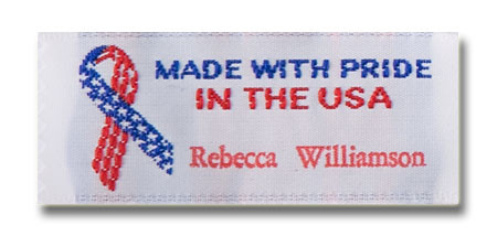 Made with Pride in the USA Pre-Designed Woven Fabric Clothing Labels