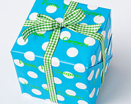 White Dots on Turquoise Background Gift Wrap