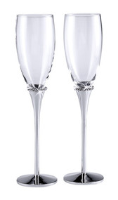 Pair of Nickel Plated Glass Flutes With Crystals