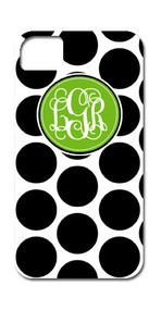 Hard Case Phone Cover - Black and White Polka Dots