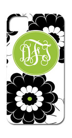 Hard Case Phone Cover - Black and Lime Green Floral