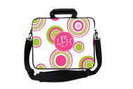 Pink and Green Caribbean Circles Laptop Bags