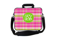 Pink and Green Plaid Laptop Bags
