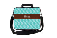 Fun Stripes - Turquoise with Brown Laptop Bags
