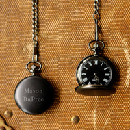 Midnight Black Personalized Pocket Watch