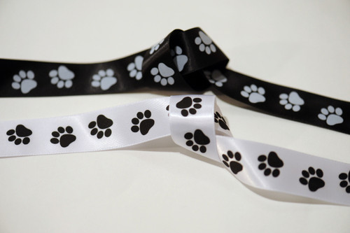 "Black and White Paw Print 7/8"" Satin Ribbon"