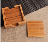 Personalized Bamboo Coaster Set