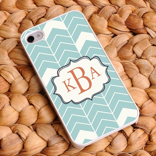 Chevron iPhone Case - Blue-Green and White