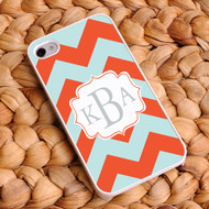 Chevron iPhone Case - Red-Orange and Light Blue