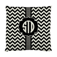 Black and Khaki Confetti Dots and Chevron Monogrammed Custom Designer Pillows
