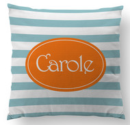 Blue Stripes Name Custom Designer Pillows