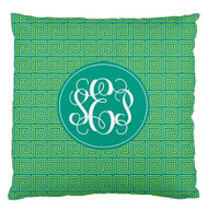 Island Greek Key Monogrammed Custom Designer Pillows