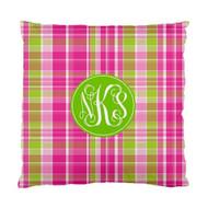Pink and Green Plaid Custom Designer Pillows
