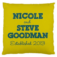 Yellow Pillow with Blue Writing - Established - Custom Designer Pillows