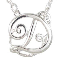 Silver Monogram Initial Necklace - D