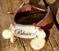 Blessed Leather Button Bracelet with Button clasp
