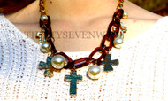 Tortoise Cross and Pearl Necklace