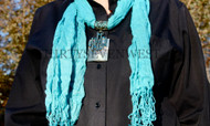 Jeweled Scarf - Turquoise with Abalone Shell