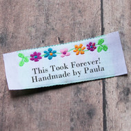 Bright Floral Border Pre-Designed Woven Fabric Clothing Labels