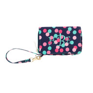 Confetti Dots Wristlet - Monogram Shown: Party Time Font with Mint Thread